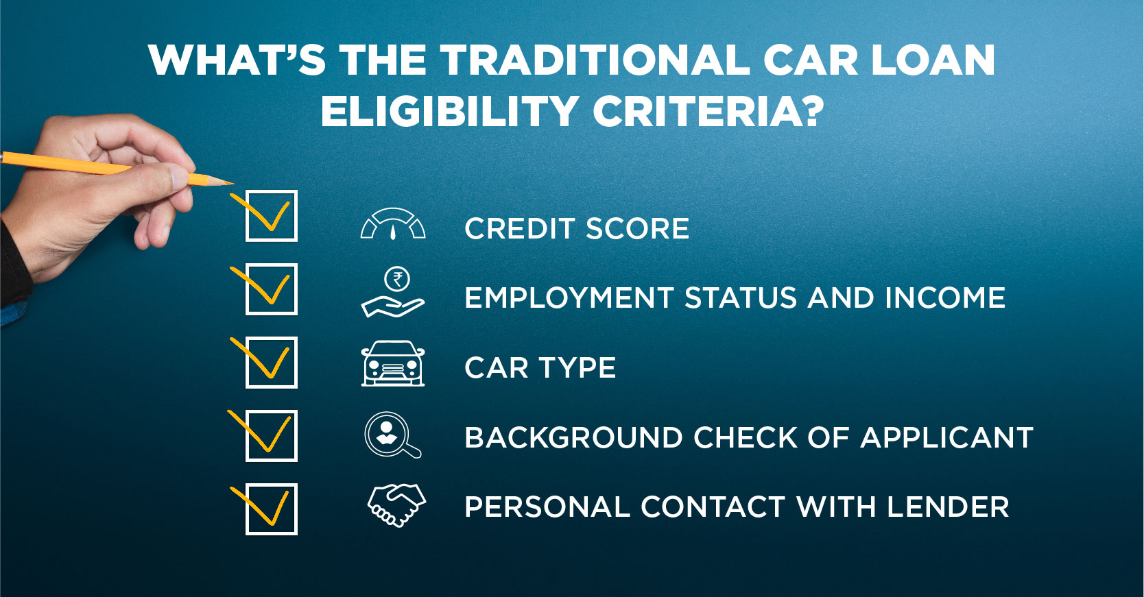 WHAT'S THE TRADITIONAL CAR LOAN ELIGIBILITY CRITERIA?